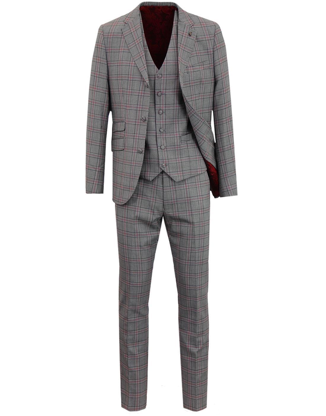 GABICCI VINTAGE Retro 70s Mod POW Check 3 Pce Suit