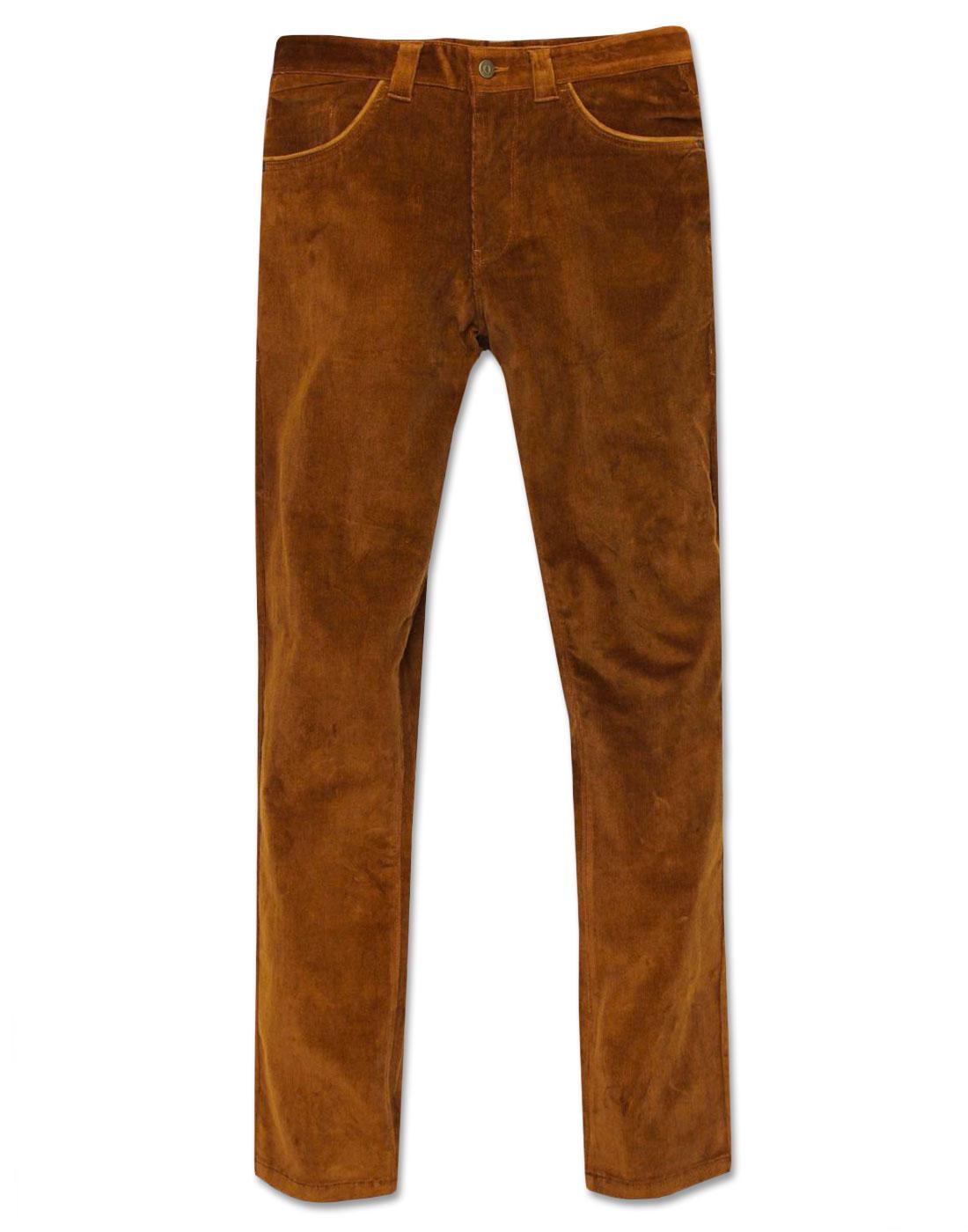 Robson GABICCI VINTAGE Mod Slim Cord Trousers TAN