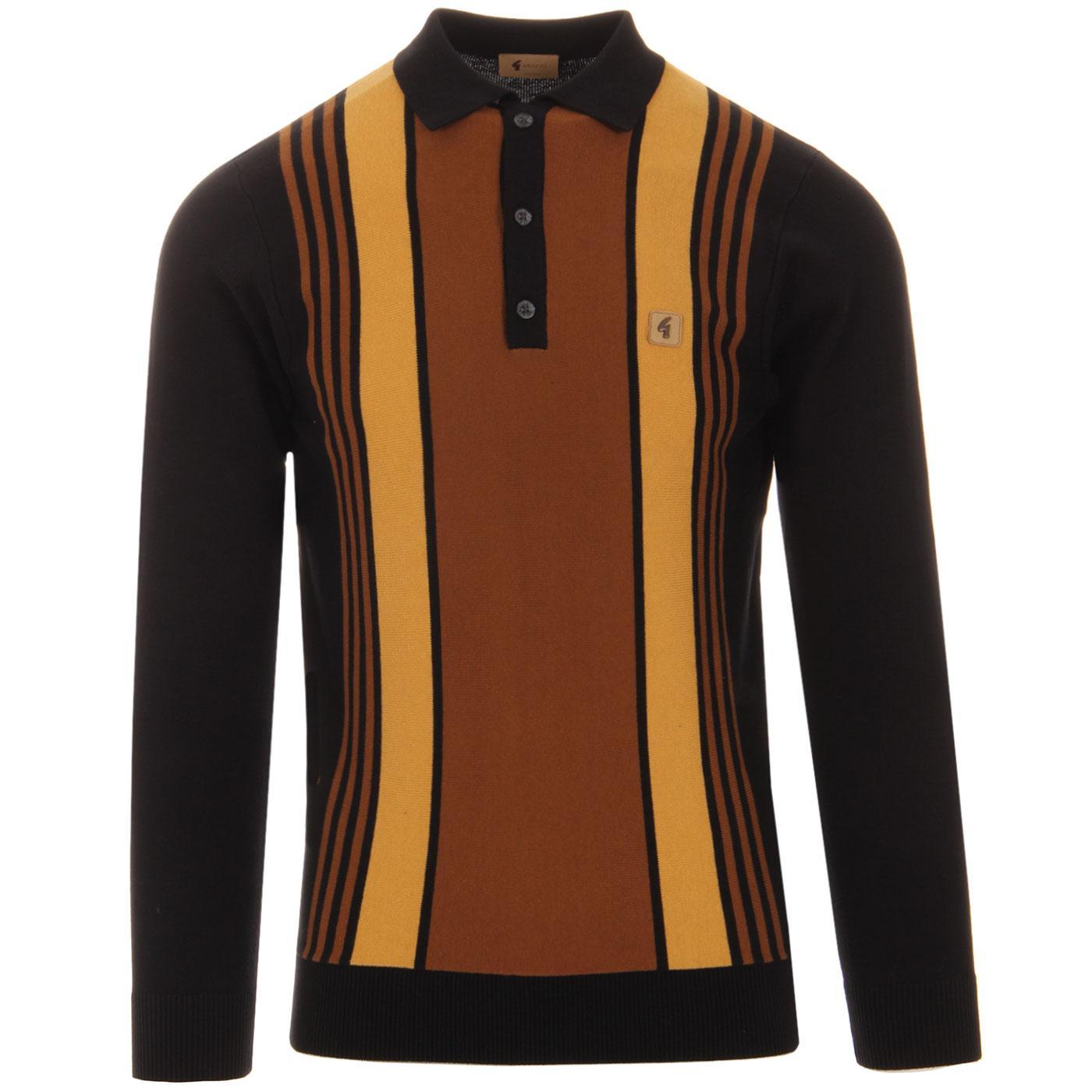 Searle GABICCI VINTAGE Mod Stripe Knit Polo BLACK