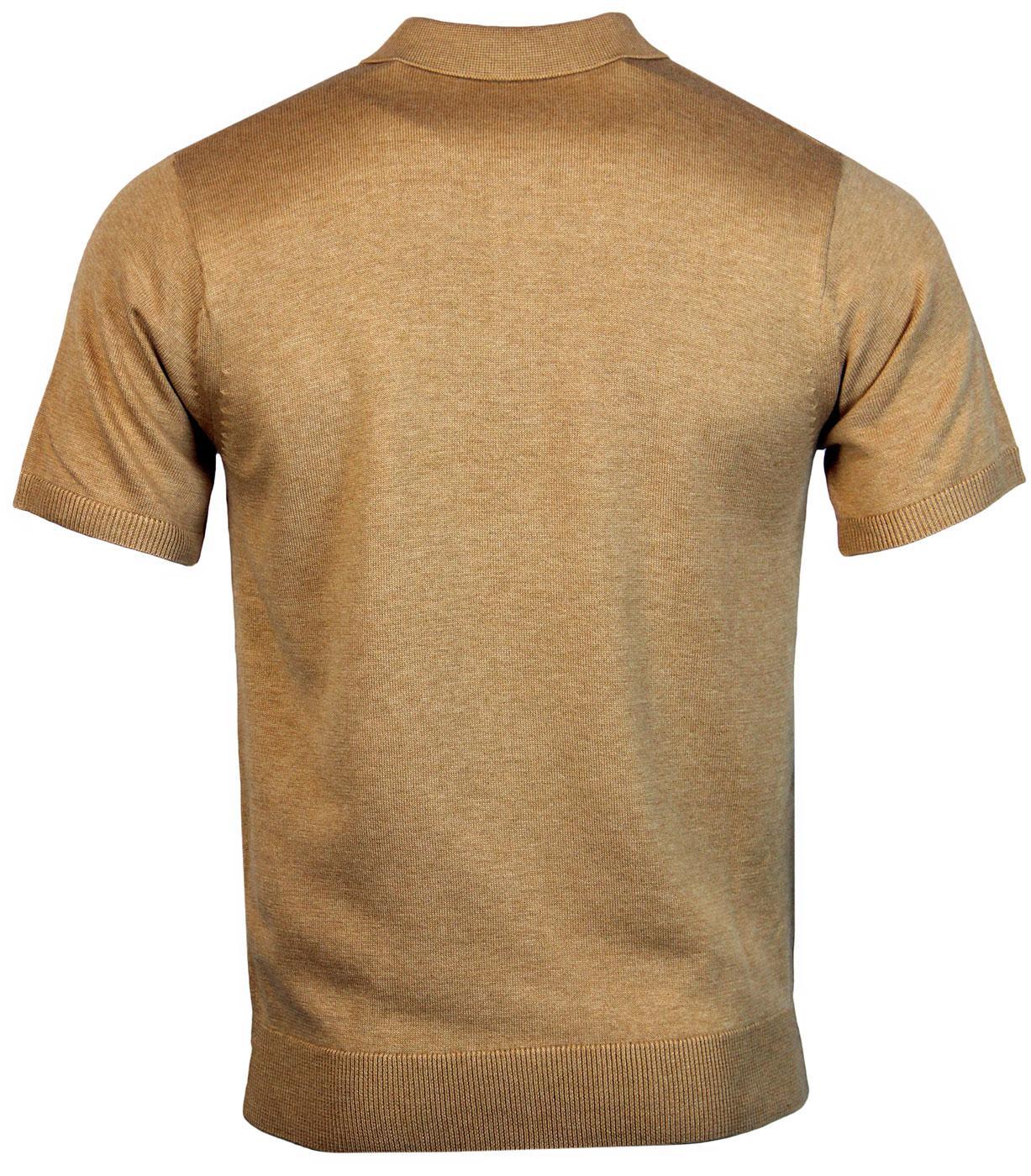 b8e68177 GABICCI VINTAGE Retro 1960s Mod Fine Knit Polo shirt in Honey