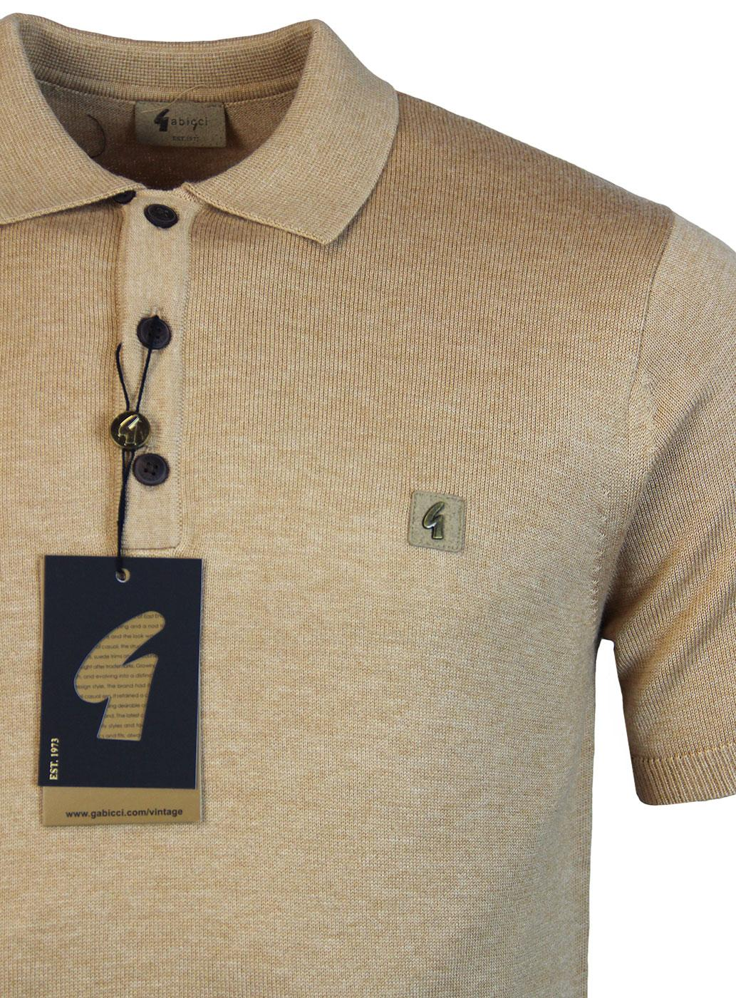 fd12875b2 GABICCI VINTAGE Retro 1960s Mod Fine Knit Polo shirt in Honey