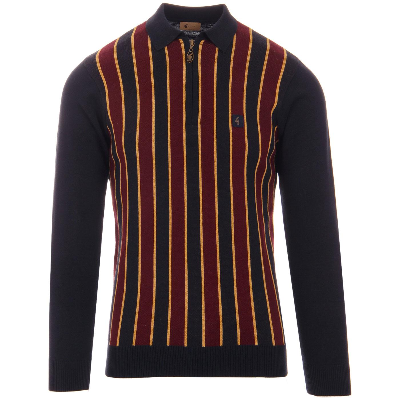 Touch GABICCI VINTAGE Mod Stripe Knit Polo (Navy)