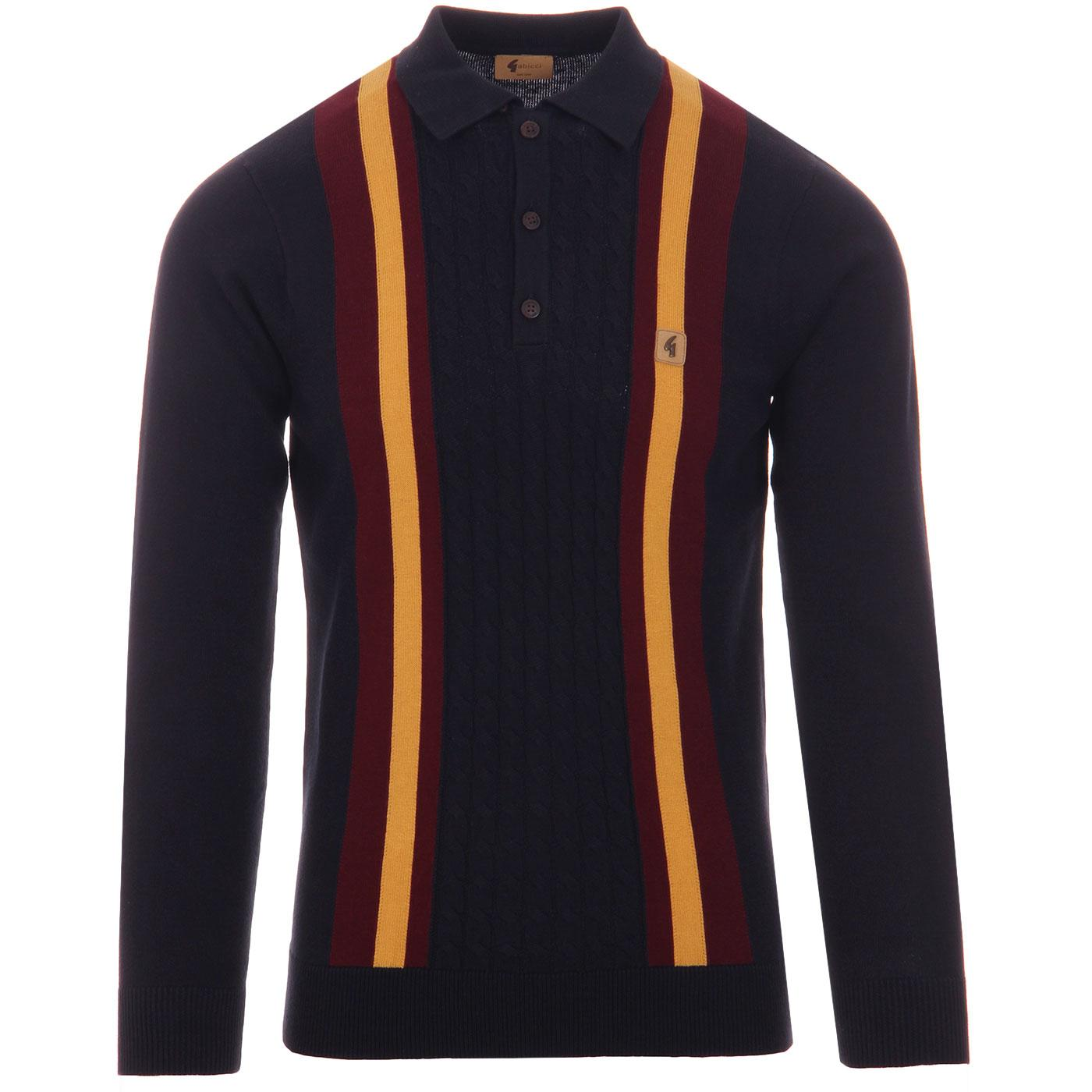 Tram GABICCI VINTAGE Mod Stripe Knit Polo Top NAVY