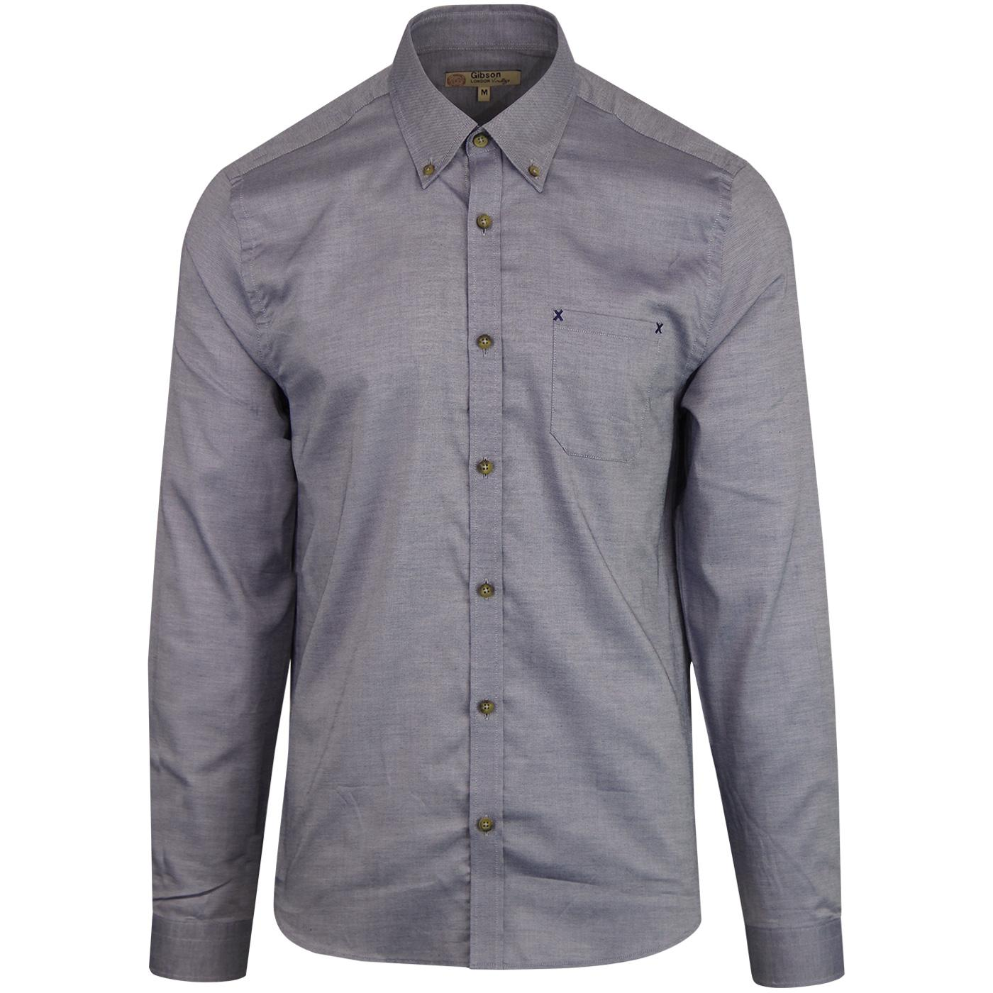 GIBSON LONDON Mens Retro Smart Oxford Shirt Blue