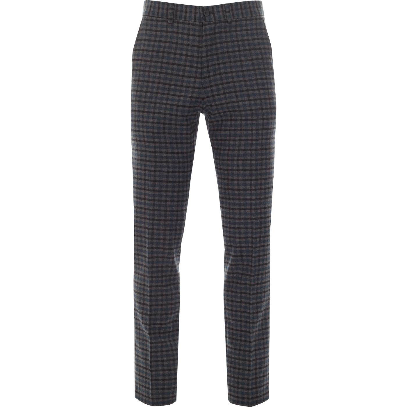 GIBSON LONDON 60s Mod Gingham Check Trousers GREY