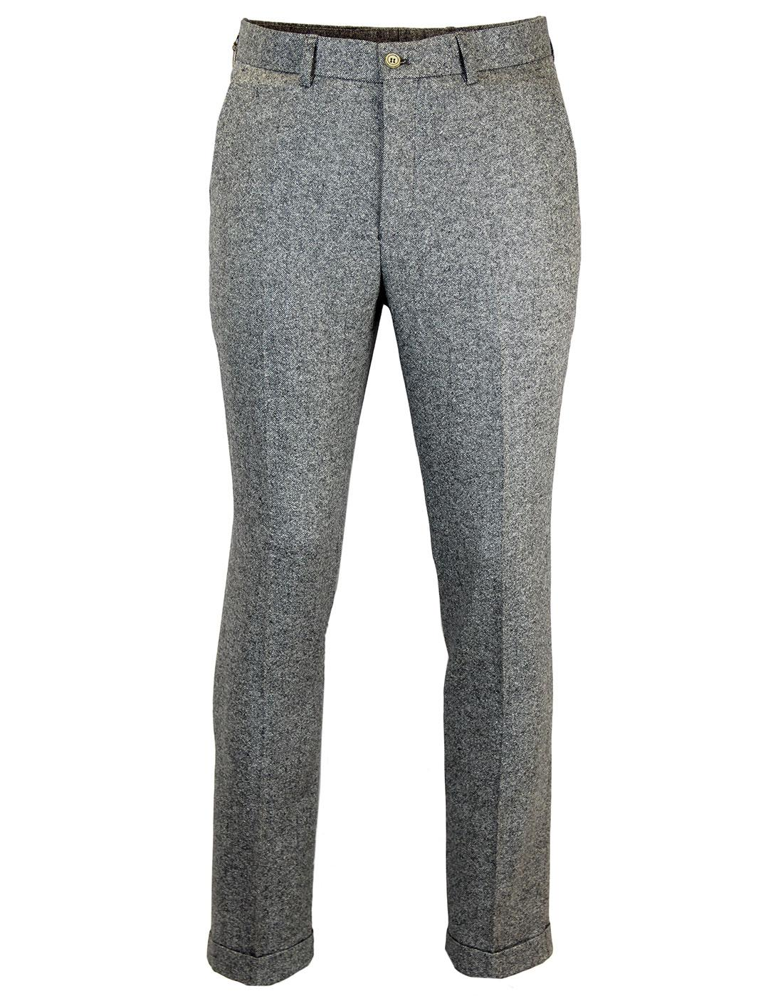 GIBSON LONDON Mod Donegal Flat Front Trousers (G)