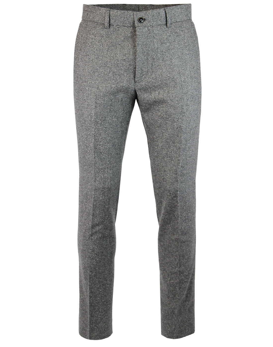 GIBSON LONDON Mod Grey Donegal Flat Front Trousers