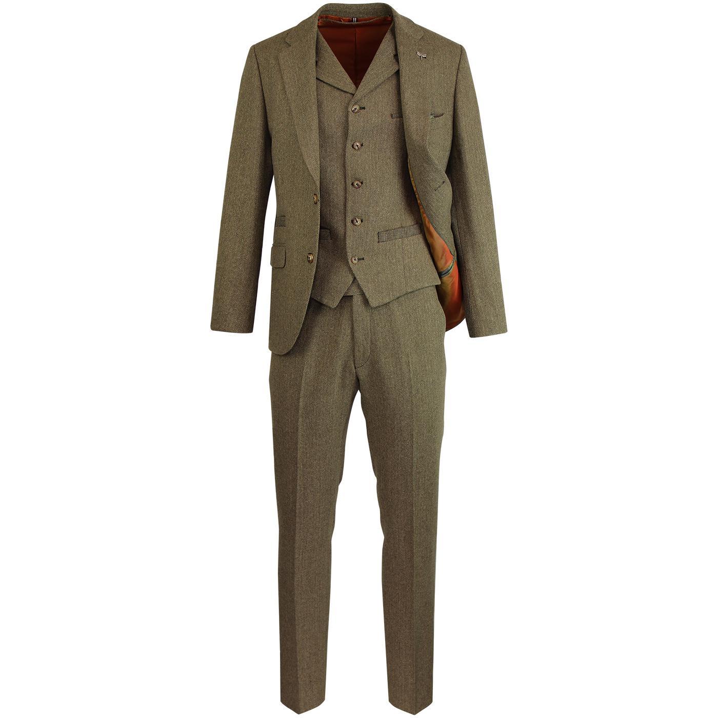 Towergate GIBSON LONDON Mod Herringbone Retro Suit