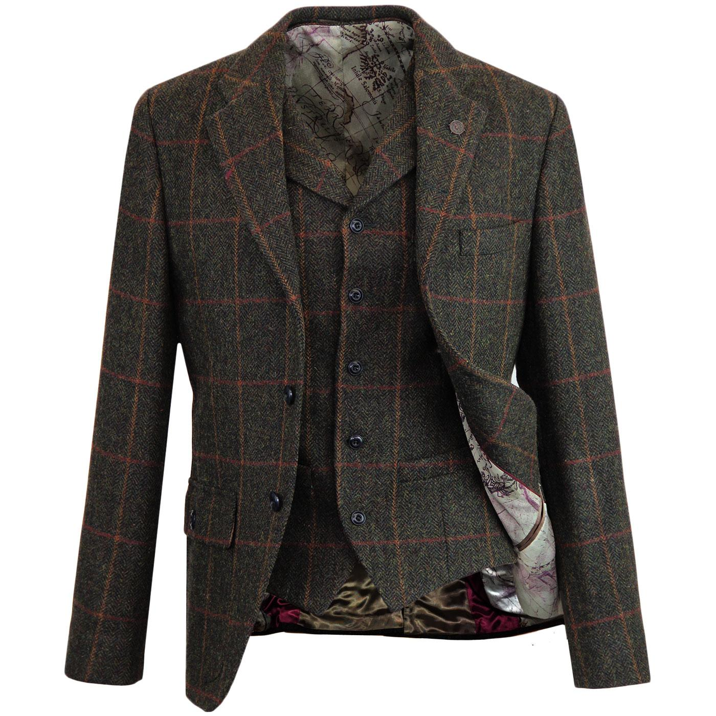 GIBSON LONDON Herringbone Check Blazer & Waistcoat