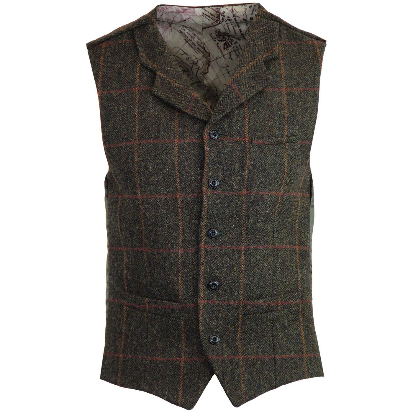 GIBSON LONDON Herringbone Check Waistcoat GREEN