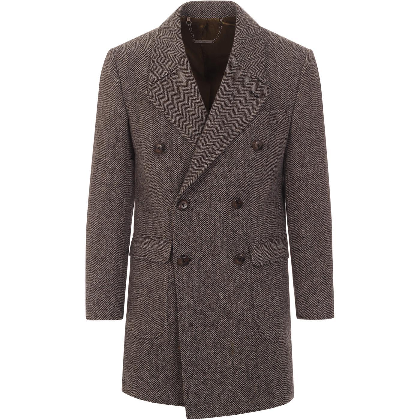 GIBSON LONDON Mod Double Breasted Herringbone Coat