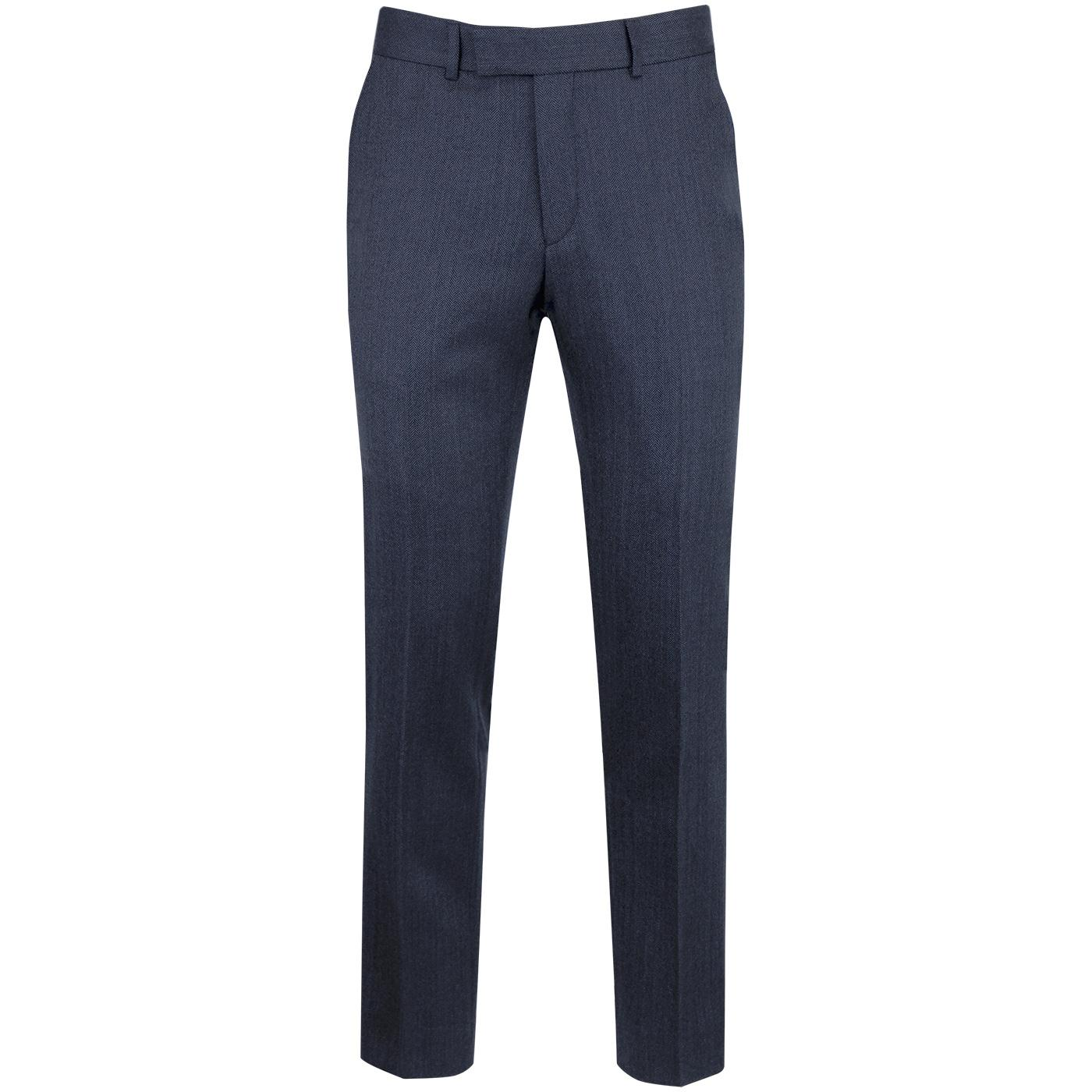 GIBSON LONDON Mod Slim Herringbone Trousers (Blue)