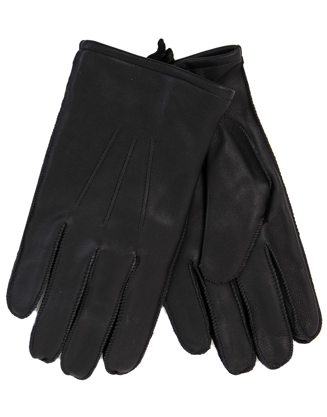 GIBSON LONDON Men's Retro Black Leather Gloves