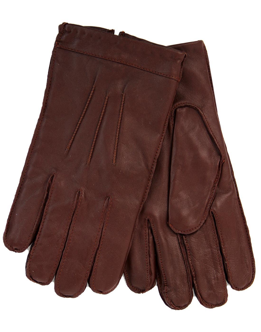 GIBSON LONDON Men's Retro Cognac Leather Gloves