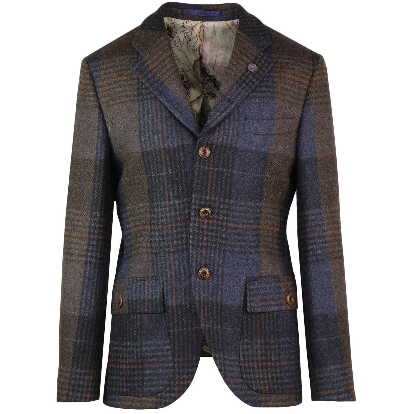 Grouse GIBSON LONDON Mod Check Blazer (Navy/Brown)