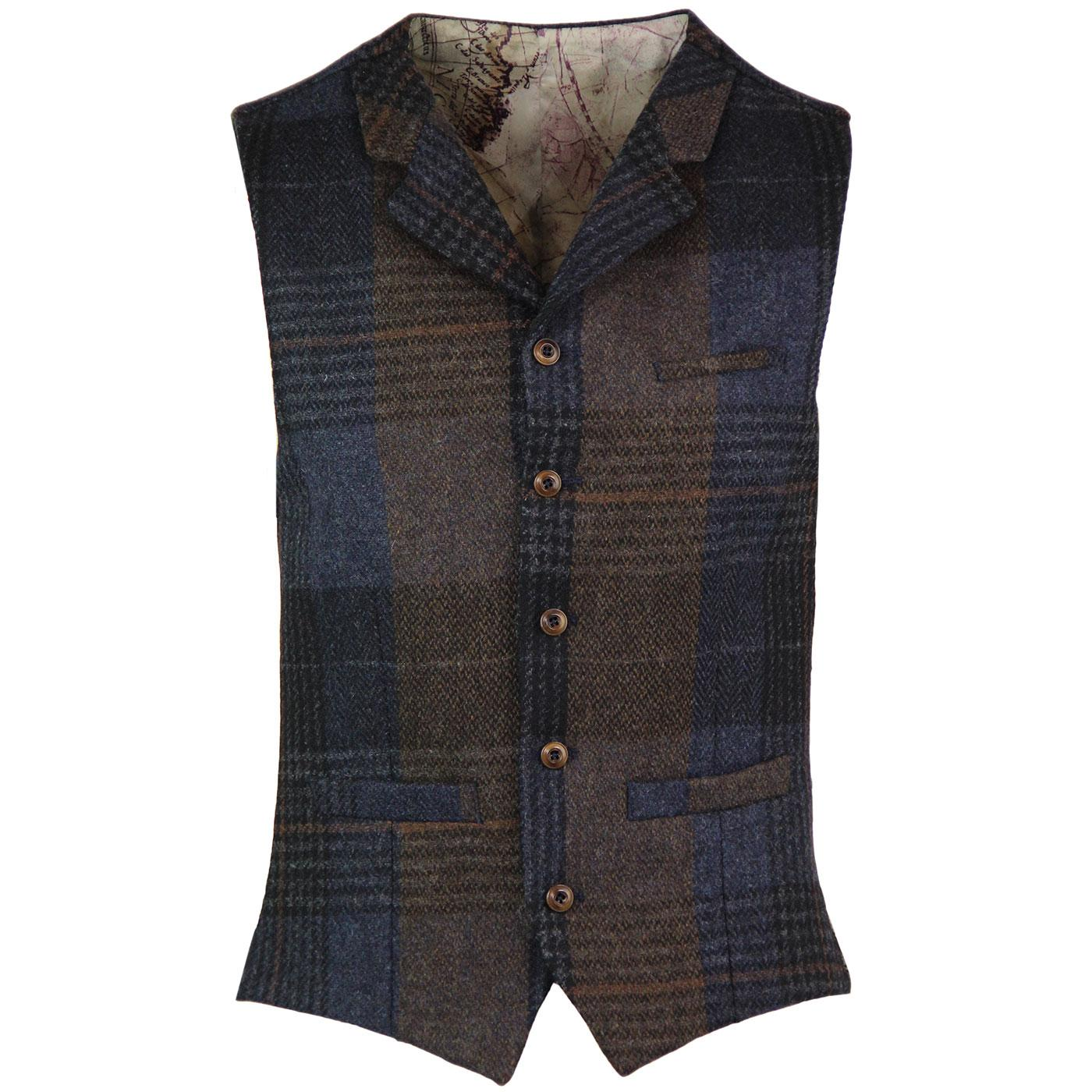 GIBSON LONDON Mod Check Lapel Waistcoat NAVY/BROWN
