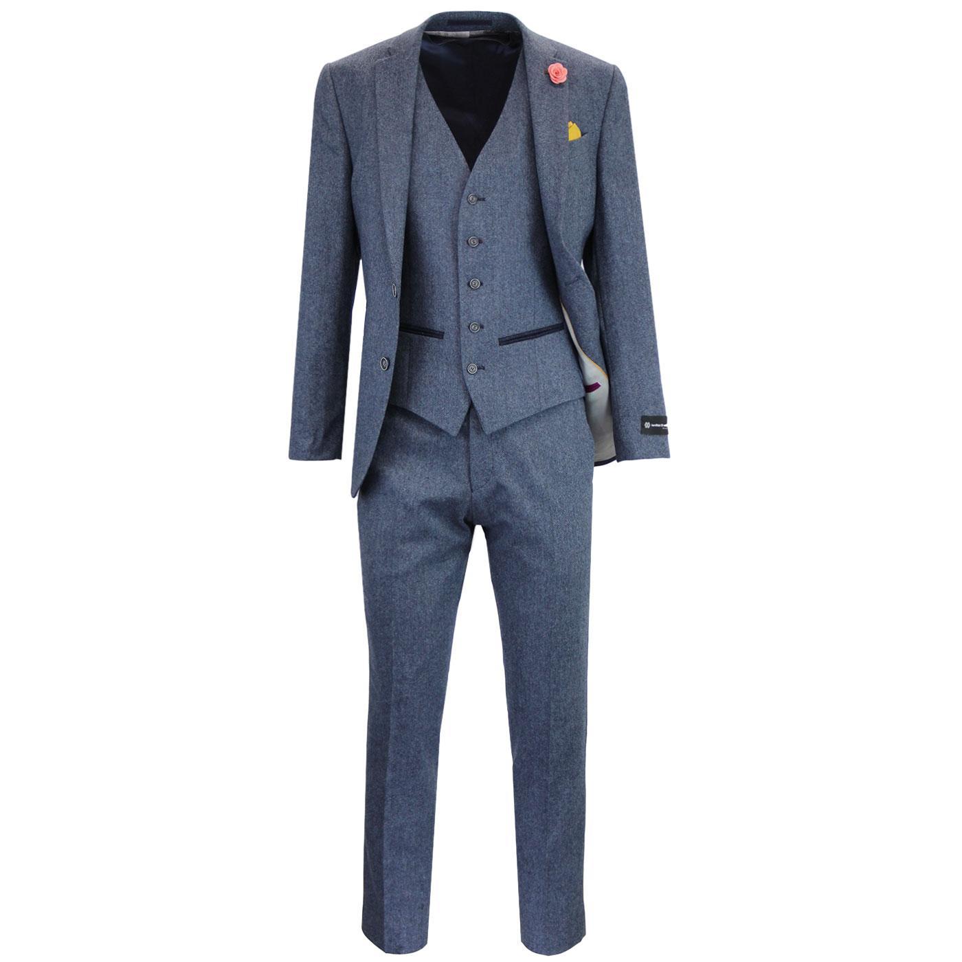 Mens Retro 60s Mod 3 Piece Donegal Suit in Blue