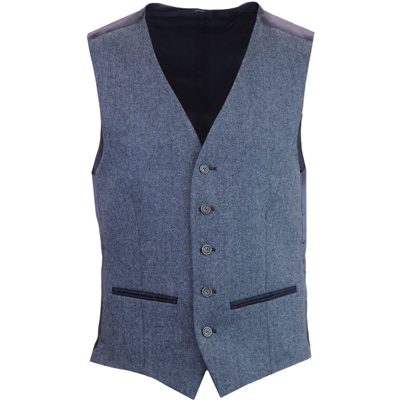 Men's Mod 5 Button V-Neck Blue Donegal Waistcoat