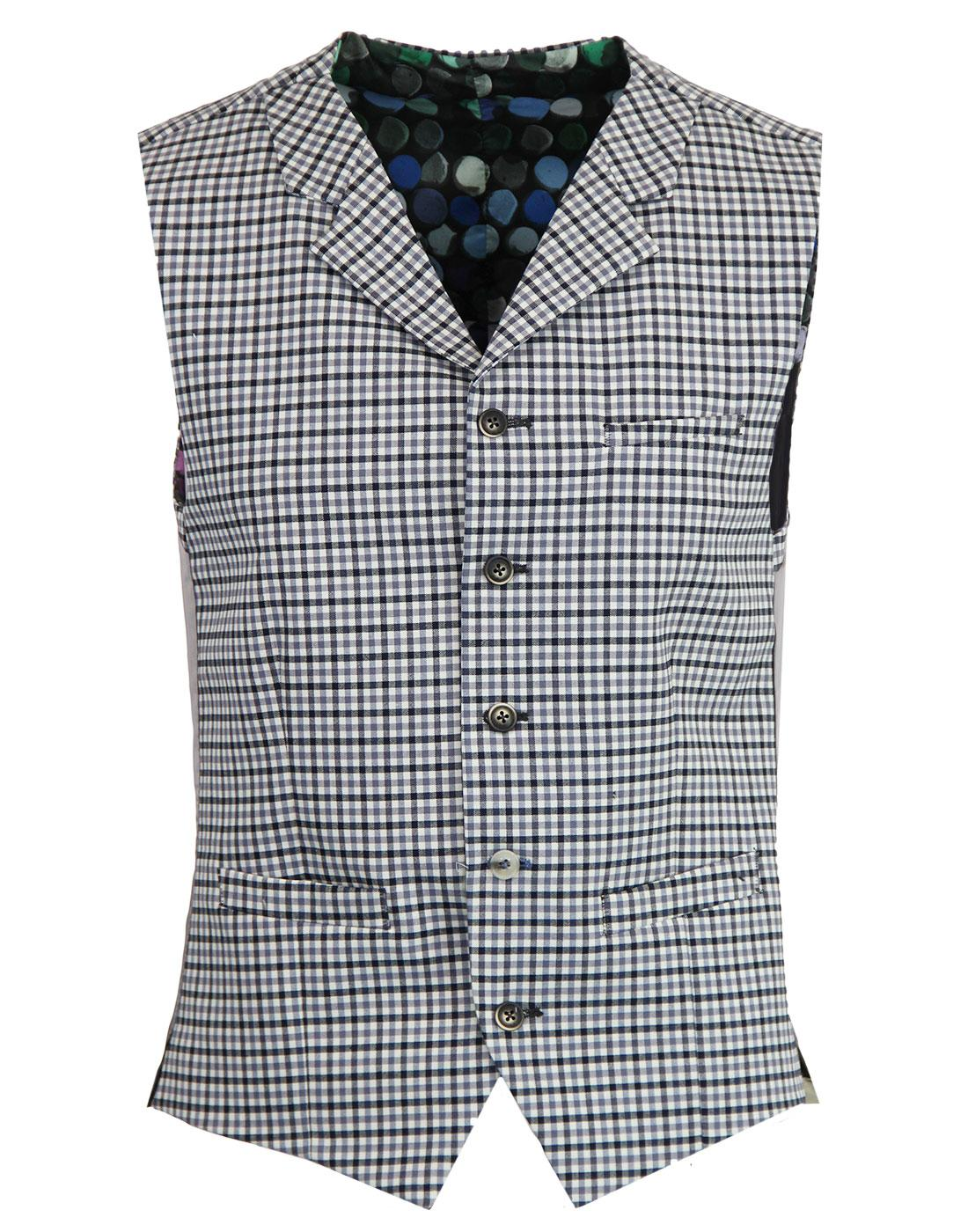 Tyburn GIBSON LONDON Gingham High Fasten Waistcoat