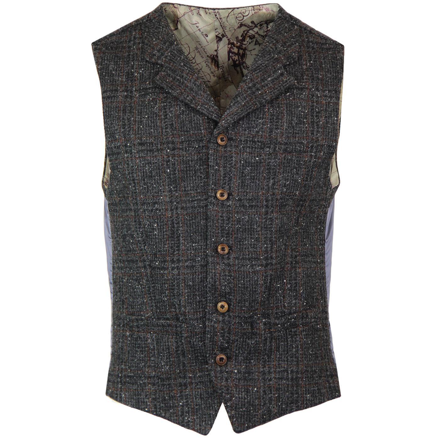 GIBSON LONDON Mod Glen Check Lapel Waistcoat (C)