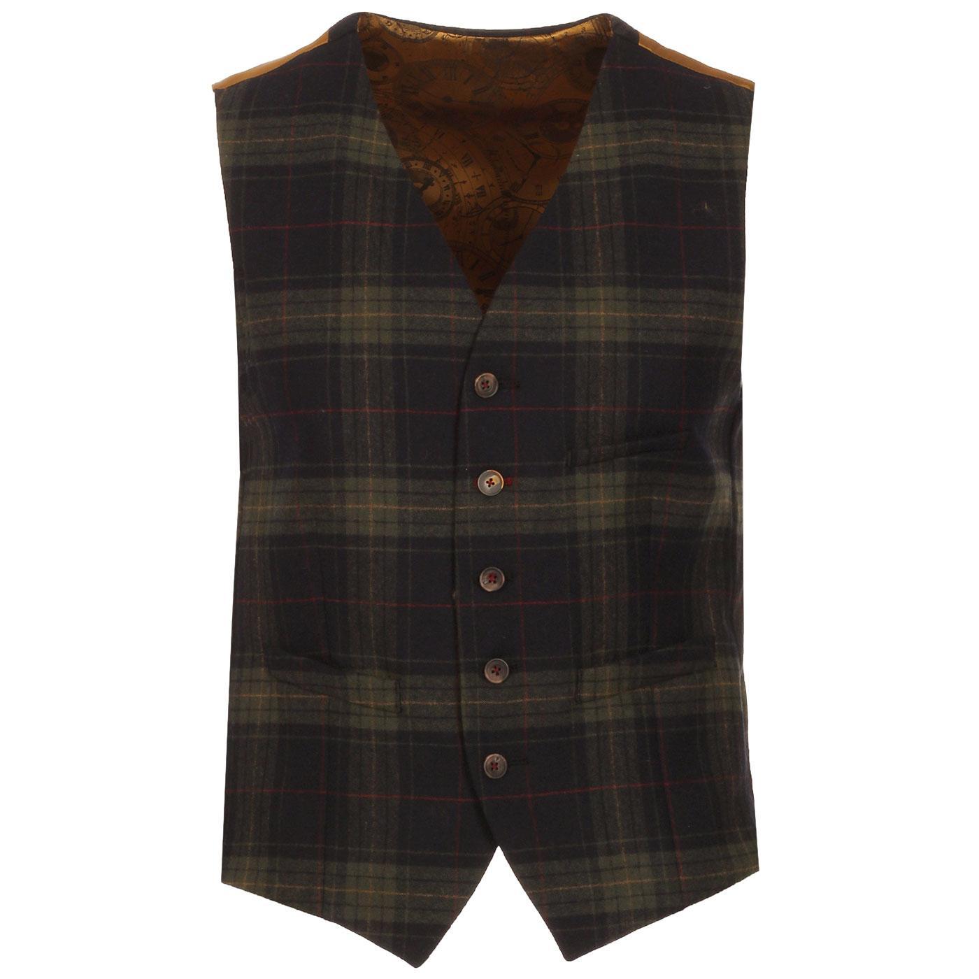 GIBSON LONDON 1960s Mod Tartan Waistcoat (B/G)
