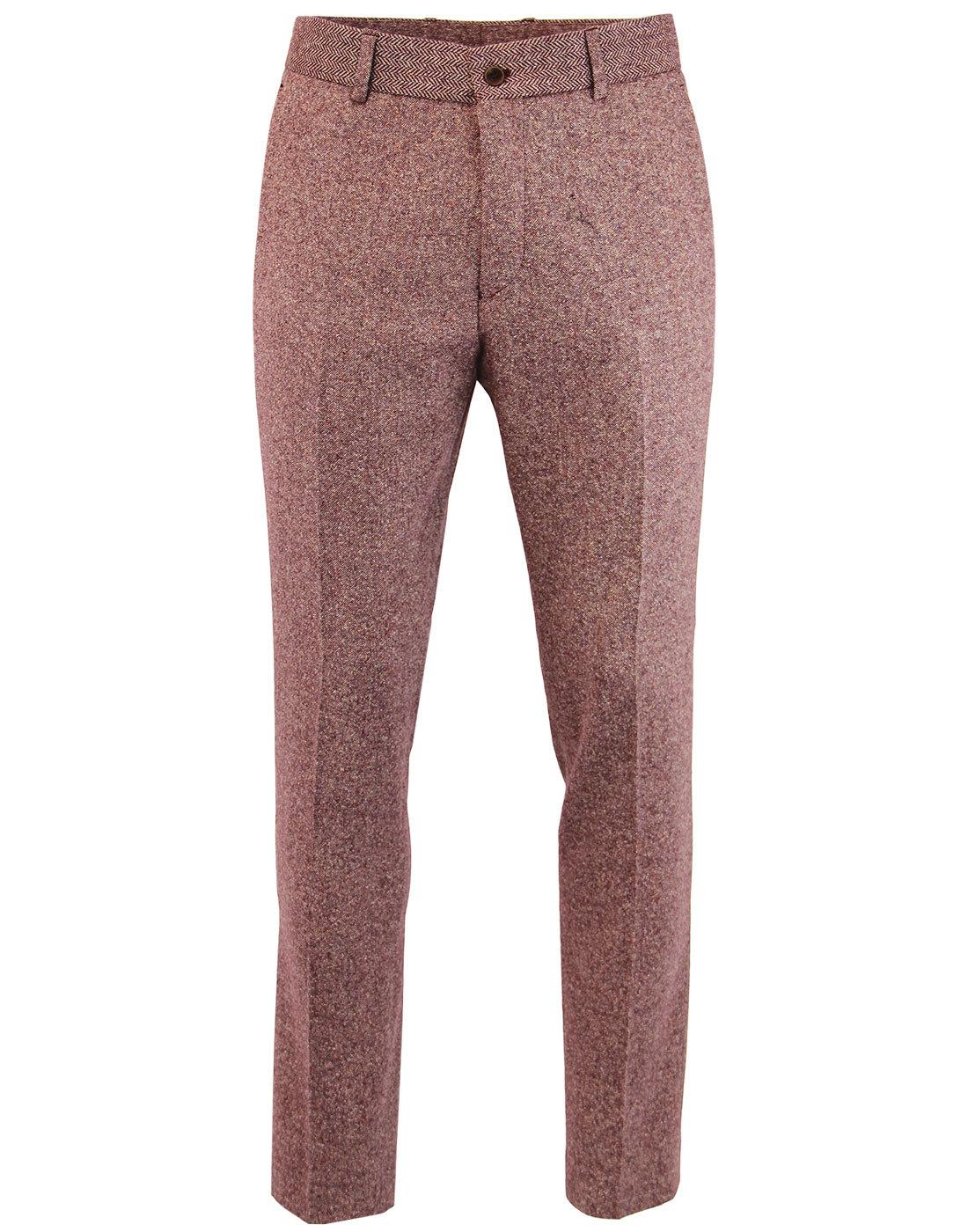 GIBSON LONDON 60s Mod Herringbone Donegal Trousers