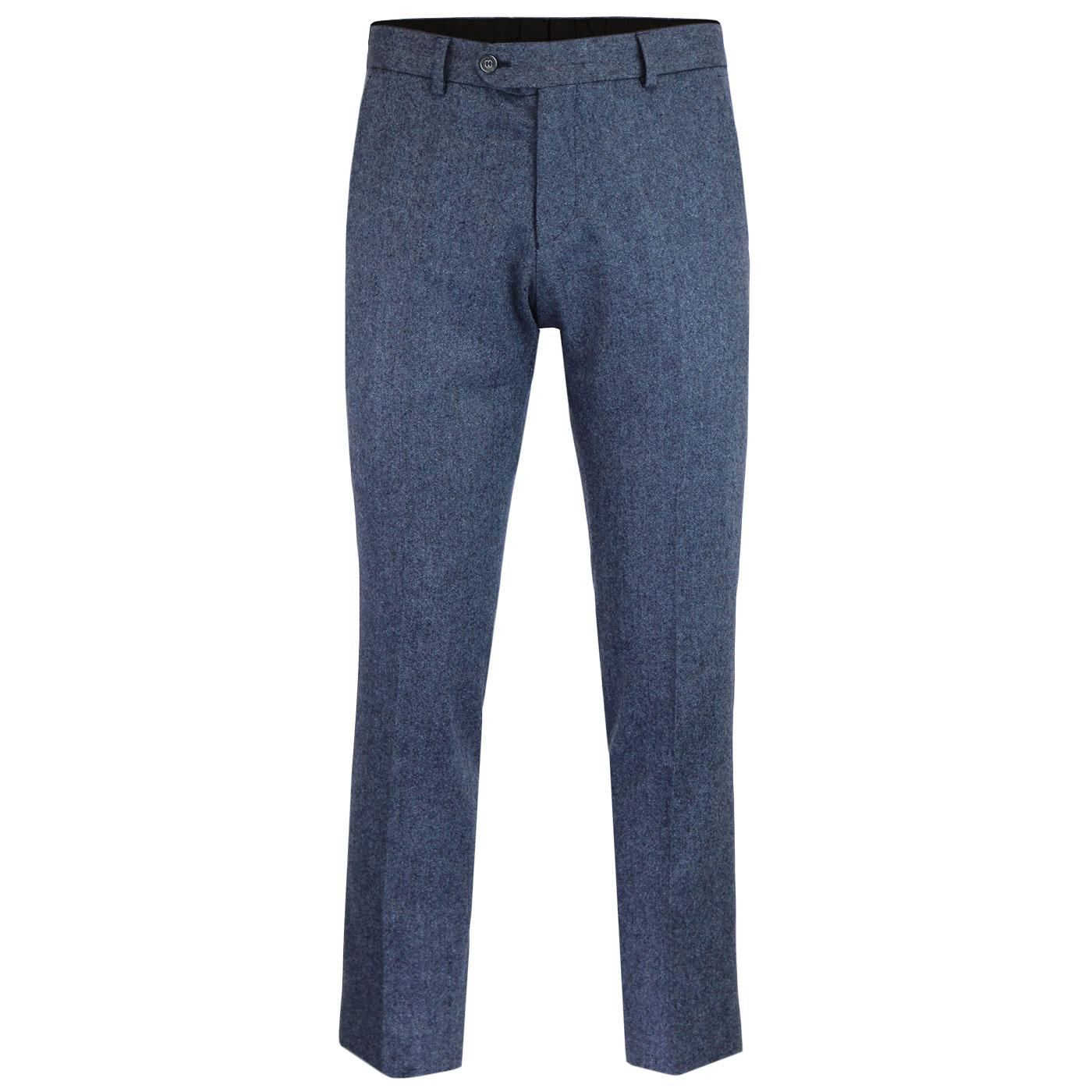 Men's Retro Mod Slim Blue Donegal Suit Trousers