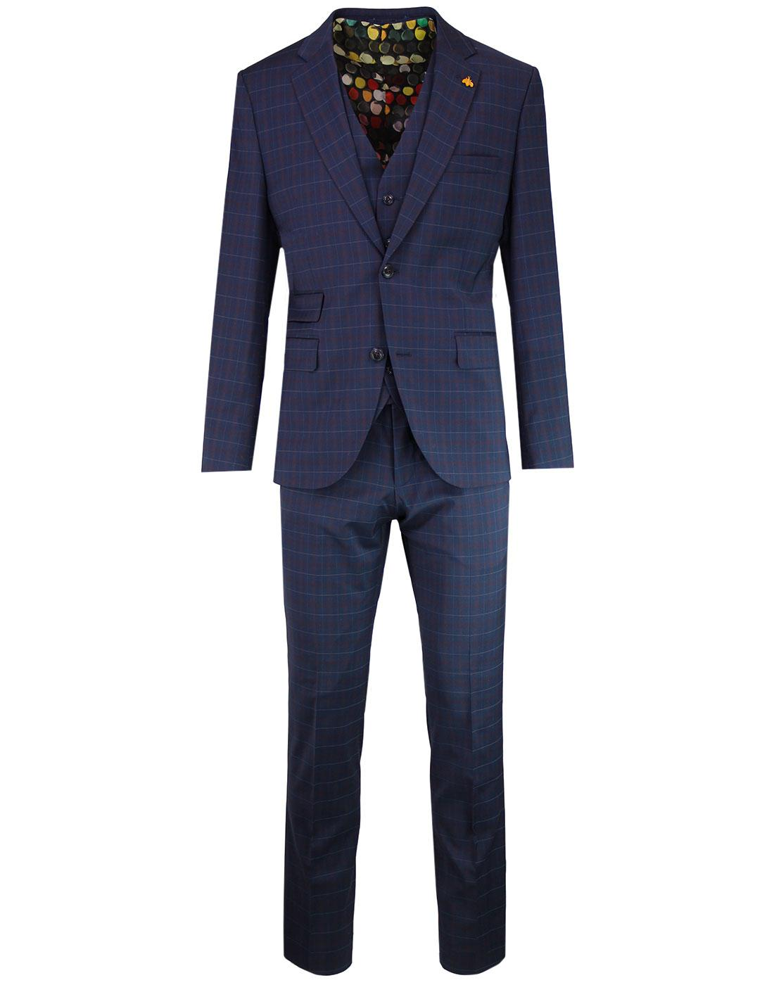 Marriott GIBSON LONDON Tartan Check Suit in Navy