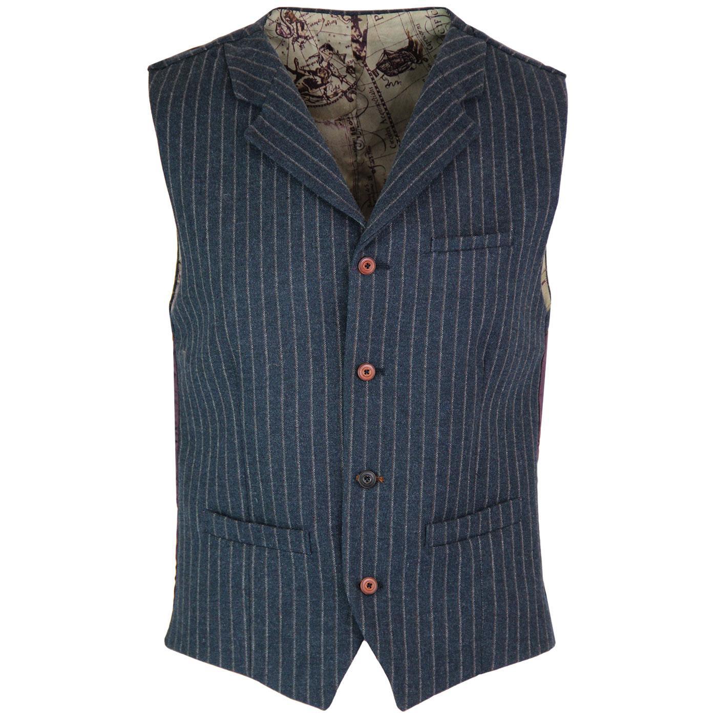 GIBSON LONDON Mod Pinstripe Lapel Waistcoat (Blue)
