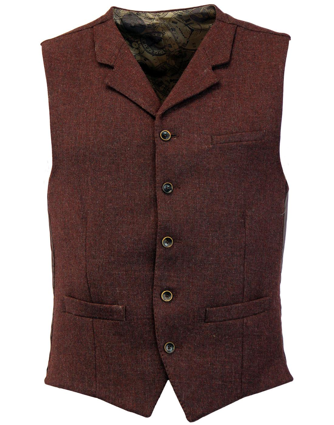 Tyburn GIBSON LONDON 60s Mod Rust Tweed Waistcoat
