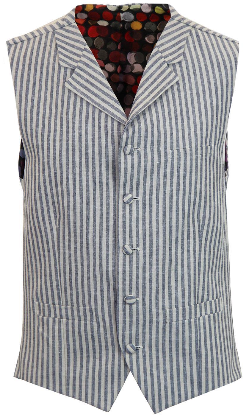 Tyburn GIBSON LONDON Linen Stripe Lapel Waistcoat