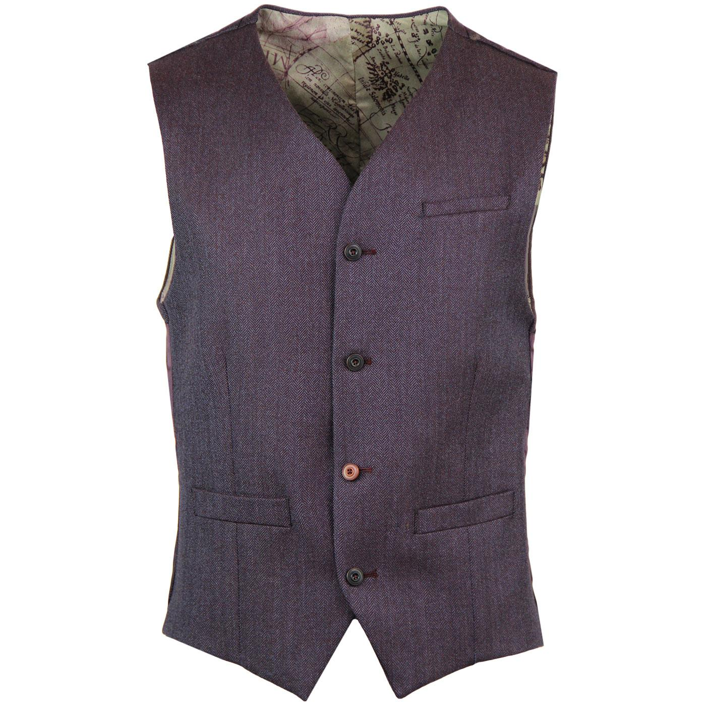 GIBSON LONDON Herringbone Tonic Lapel Waistcoat