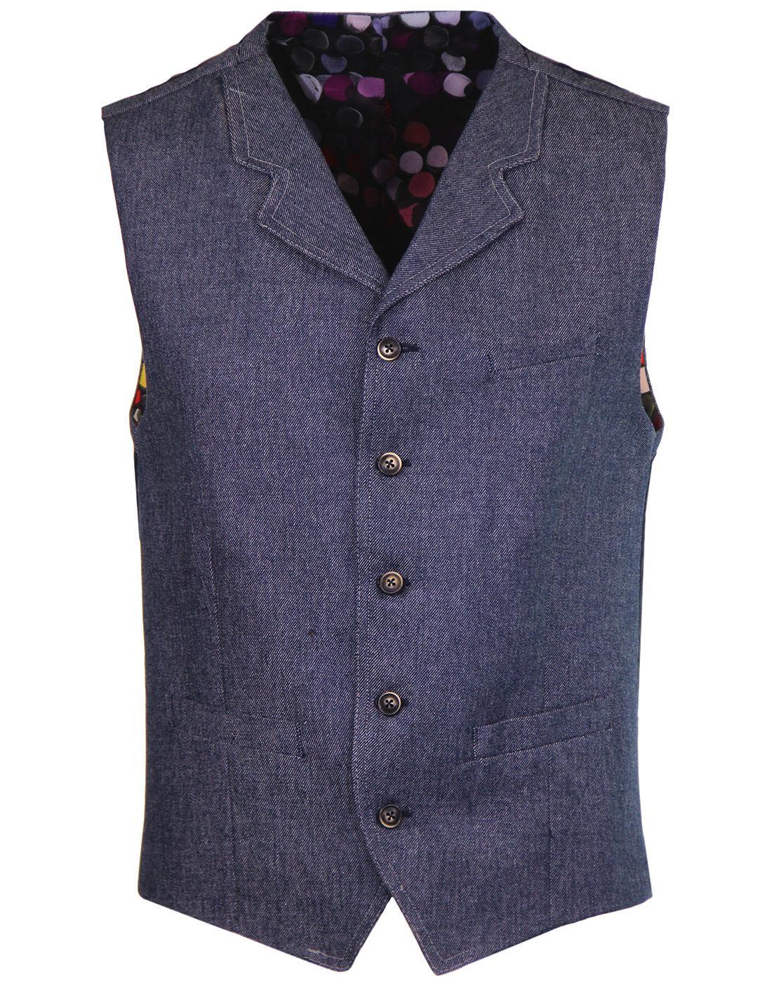 Tyburn GIBSON LONDON Mod Oxford Twill Waistcoat