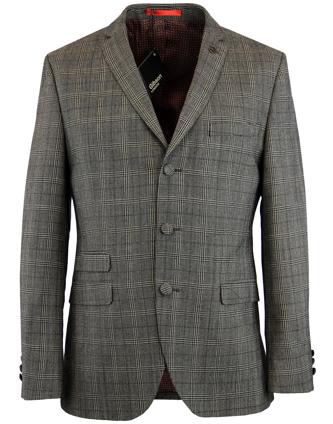 GIBSON LONDON Retro Check 3 Button Mod Suit Jacket
