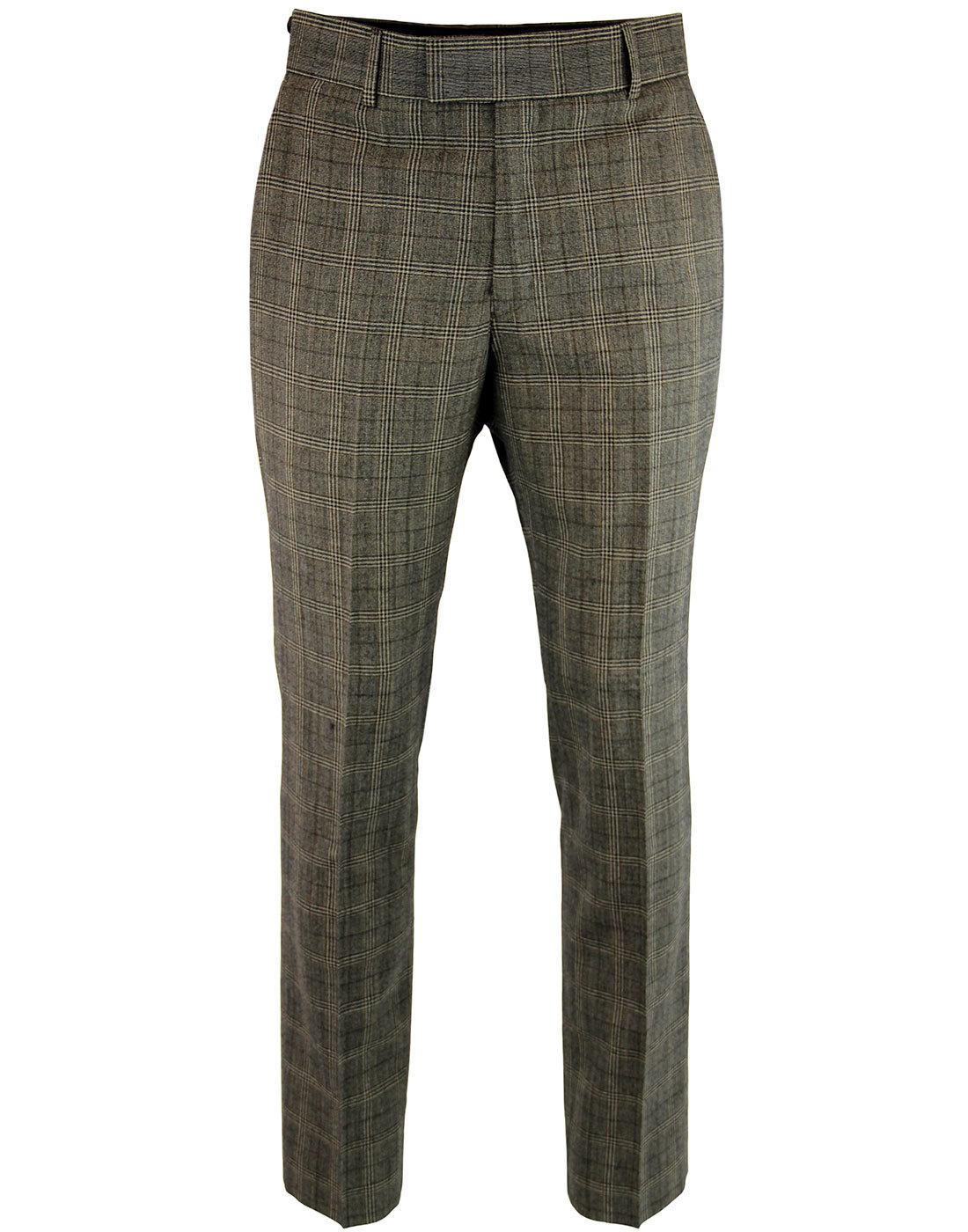 GIBSON LONDON Retro Slim Mod Check Suit Trousers