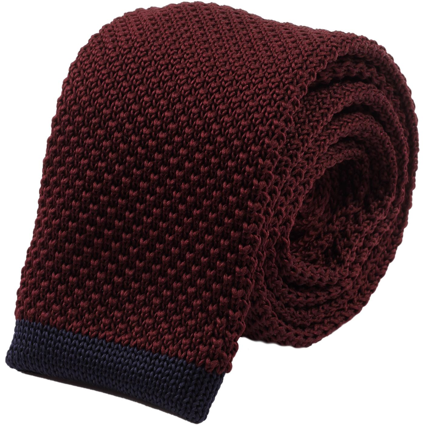 GIBSON LONDON Mod Square End Knit Tie (Burgundy)