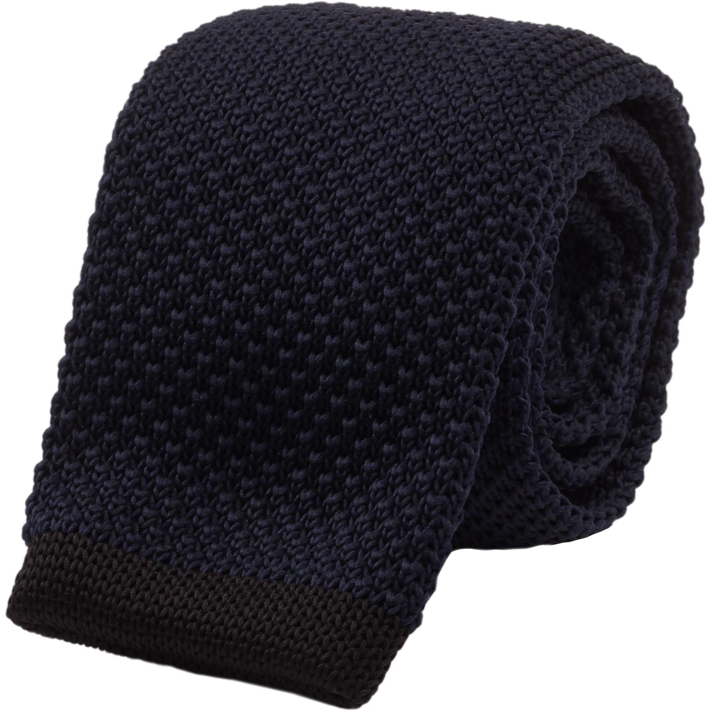 GIBSON LONDON 60s Mod Square End Knit Tie (Navy)