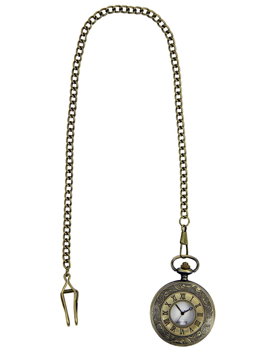 GIBSON LONDON Vintage Ornate Pocket Watch w/ Chain