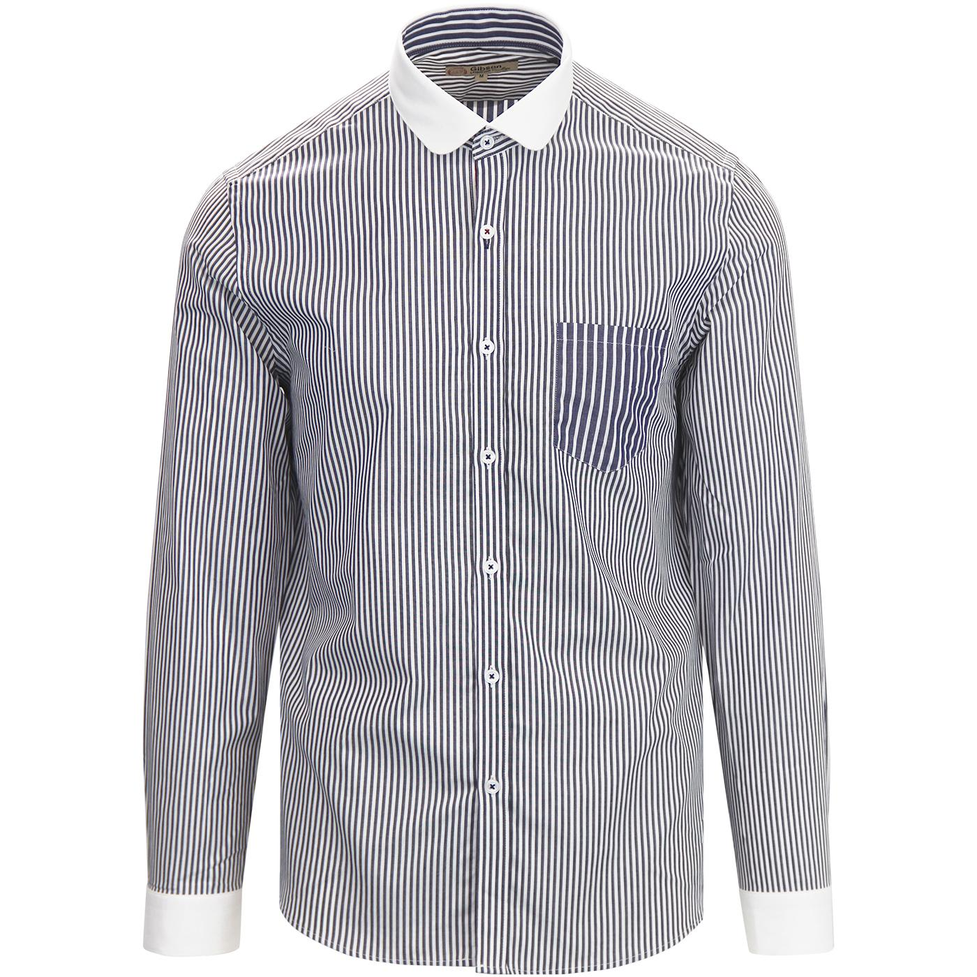 best supplier fresh styles limited style GIBSON LONDON Mod Penny Collar Stripe Shirt NAVY