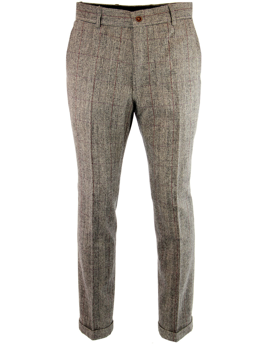 GIBSON LONDON 60s Mod POW Check Turn Up Trousers