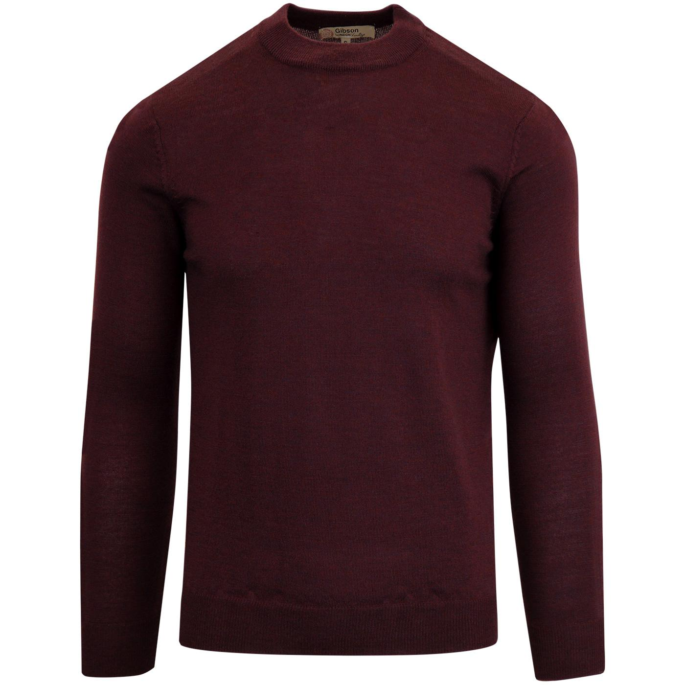 GIBSON LONDON Mod Mock Turtle Neck Jumper BURGUNDY
