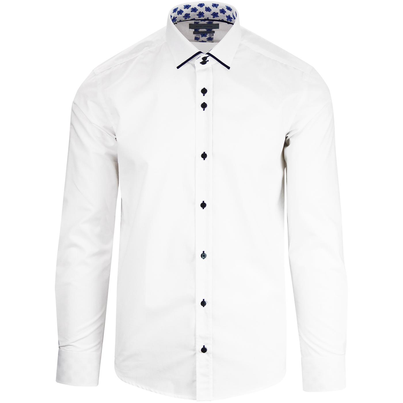 GUIDE LONDON Mod Piping Collar Plain Shirt WHITE