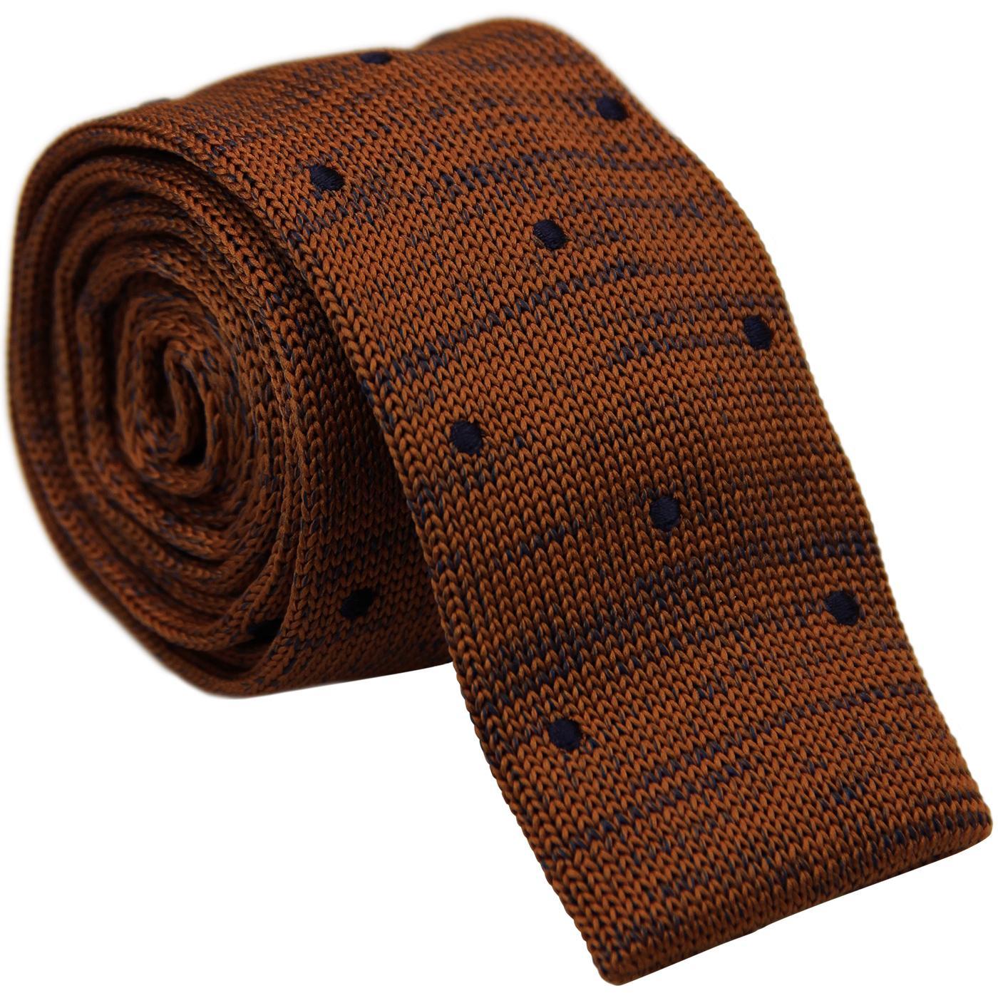 GIBSON LONDON 1960s Mod Spot Knitted Tie (Mustard)