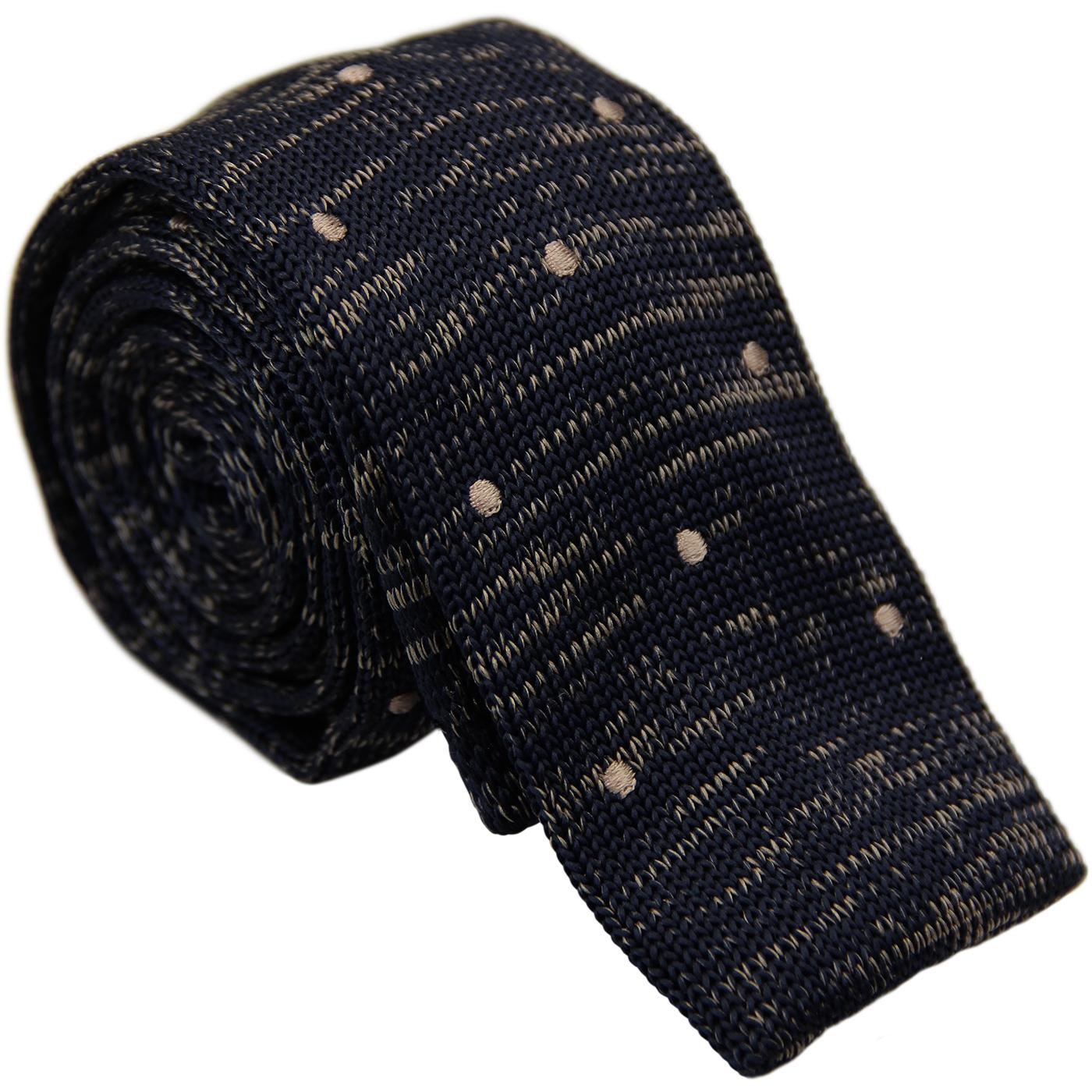 GIBSON LONDON 1960s Mod Spot Knitted Tie (Navy)