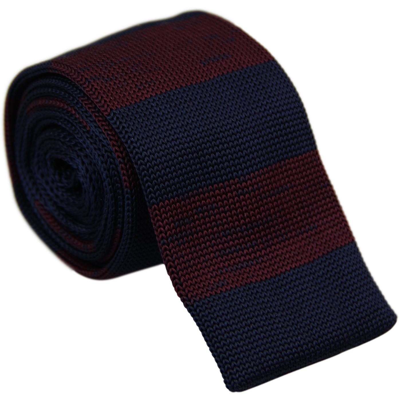 GIBSON LONDON Mod Stripe Knitted Tie (Burgundy)