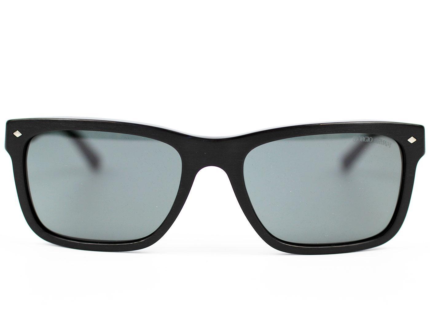 3f1155a53 Giorgio Armani Retro Mod Brushed Frame Wayfarer Sunglasses Black