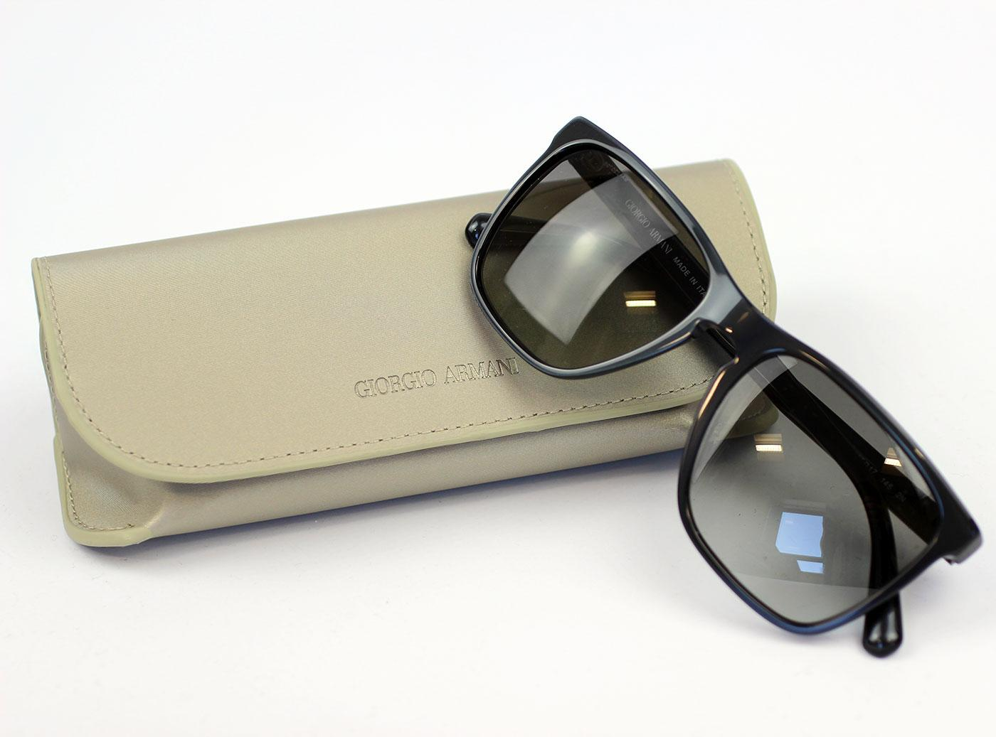 bc963742d Giorgio Armani Retro Mod Square Sunglasses Wayfarers in Grey
