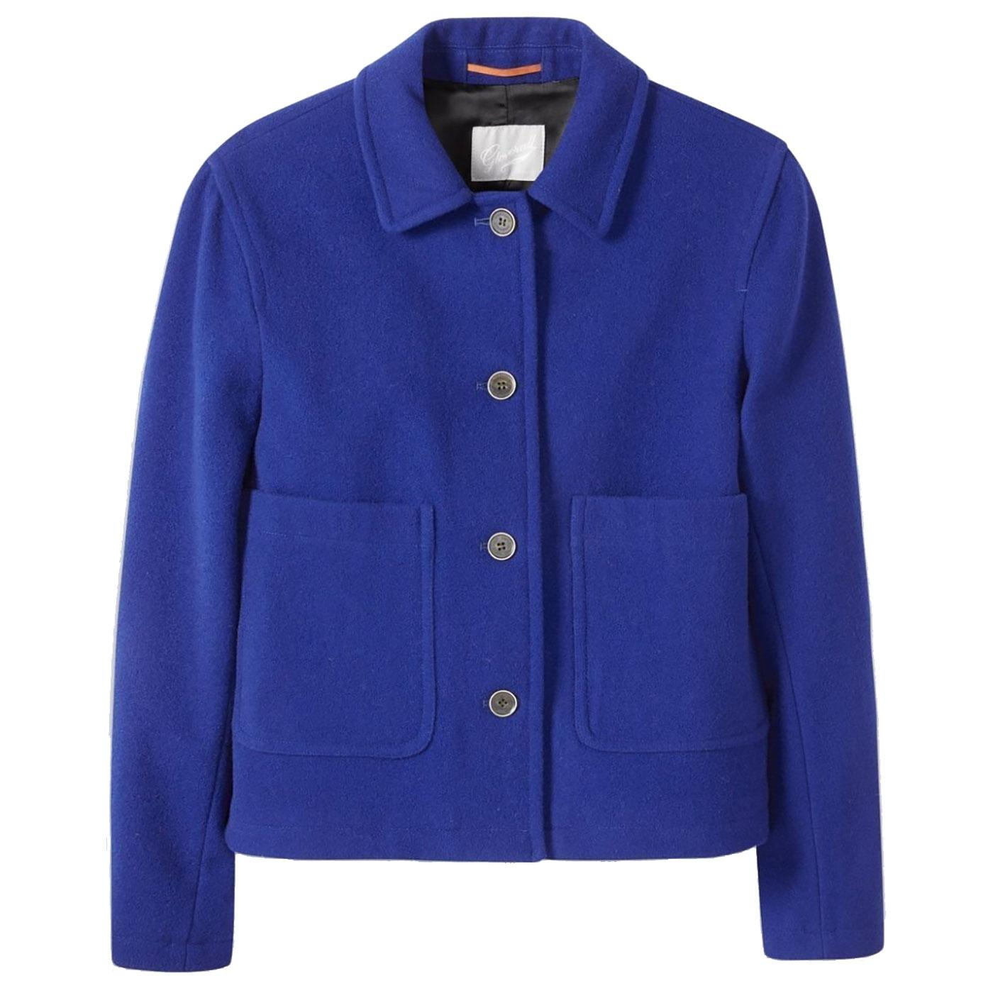 Daisy GLOVERALL Womens Cropped Wool Jacket BLUE