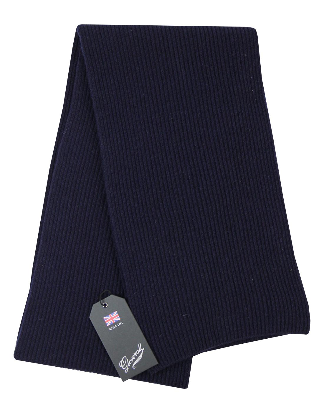 GLOVERALL Retro Ribbed Knit Fishermans Scarf NAVY
