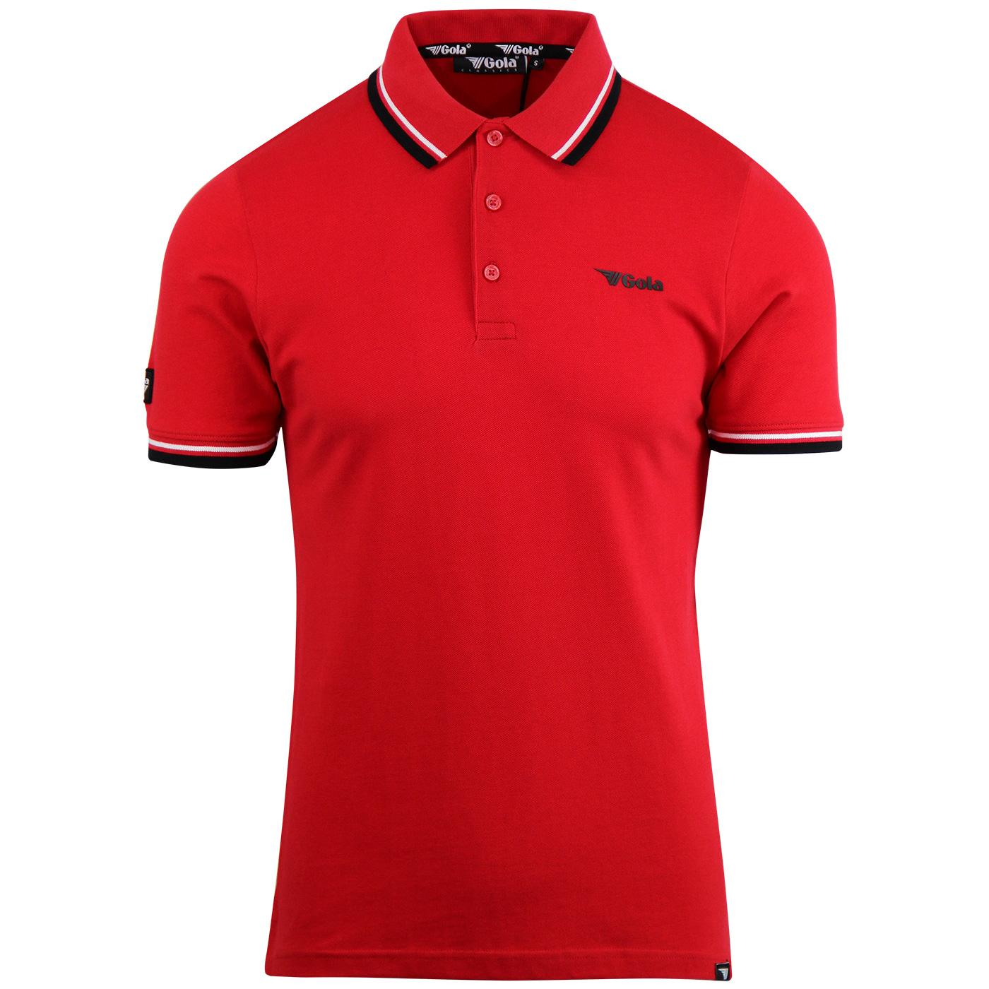 Brennan GOLA CLASSICS Retro Tipped Pique Polo RED